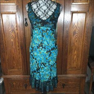 Betsy Johnson Aqua Blue & Black Floral Slip Dress